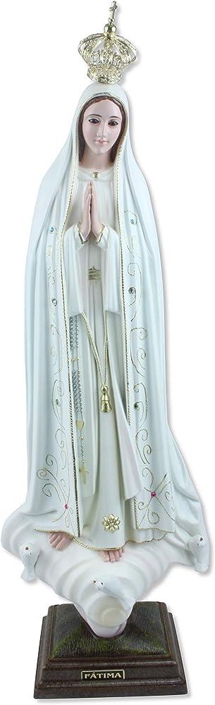 Proposte religiose, statua della madonna di fatima, in resina dipinta a mano con occhi in vetro, altezza cm 55 1106M4099