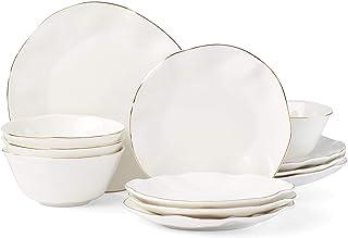 Lenox Blue Bay 12-Piece Dinnerware Set, 15.20 LB, White