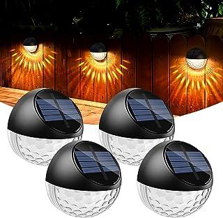 Quntis Lot de 4 LED Lampes Solaire Applique Murale Extérieur IP65 Étanche Éclairage Mural Décorative Lumière Blanc Chaud, ...