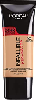 L'Oréal Paris Makeup Infallible Pro-Matte Liquid Longwear Foundation, 103 Natural Buff, 1 fl. oz.
