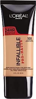 L'Oréal Paris Makeup Infallible Pro-Matte Liquid Longwear Foundation, 103 Natural Buff, 1 fl. oz.