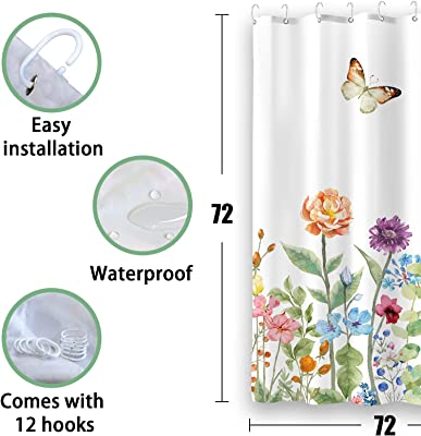 "Kanuyee Fabric Floral Shower Curtain,Garden Butterfly Shower Curtains for Bathroom, Bath Curtain Modern Bathroom Accessories Waterproof with Size (72"" W x 72"" H(180cm x 180cm))"
