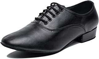 Gogodance Men's Boys Professional Lace-up Black Leather Latin Salsa Tango Ballroom Modern Dance Shoes