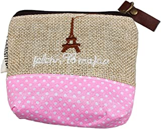 (TM) Women Canvas Eiffel Round Dot Small Mini Square Wallet Coin Purses Clutch Money Bags With Zipper (Beige)