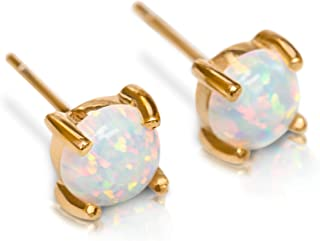 Stud Earrings Opal Studs | 14k Gold Dipped 3mm 6mm Tiny White Round Fire Opals Studs Womens Stainless Steel Earring Pair C...