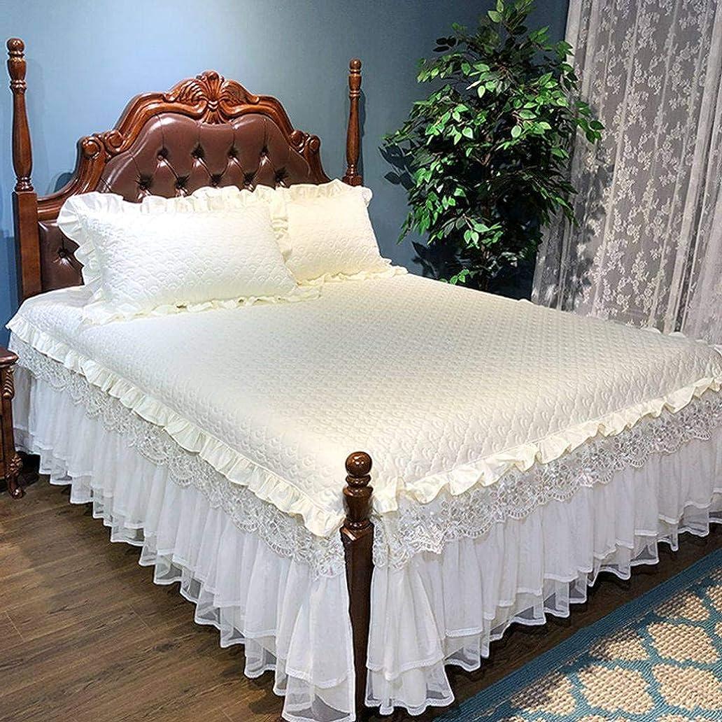 上級さまようバナーQXJR 綿 レース製,フリル ベッドスカート,ストレッチ ベッドスカート,ベッドスプレッド ベッド用品 綿 綿-キルティングコットン-200×220+2枕カバー