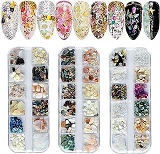 Kalolary 3箱ネイルアートクラッシュシェル貝殻セット、3D ネイルアート 天然 シェル アワビ貝殻 ネイル石パーツ