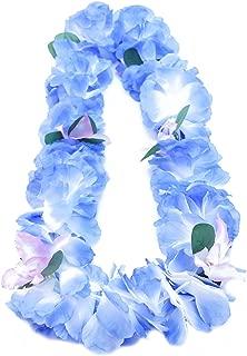 Premium Hawaiian Luau Party Lei - Paradise Petunia w/ Orchids - Caribbean Blue
