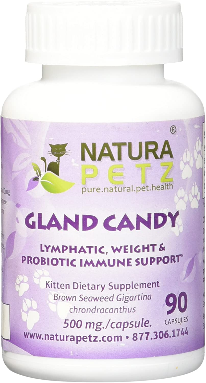 Natura Petz Gland Candy Lymphatic, Weight Loss and Probiotic Immune Support for Kittens, 90 Capsules, 500mg Per Capsule