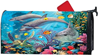 Dolphin Sea Turtle Cute Fish Spring Fall Magnetic Mailbox Cover Standard, Vintage Decor for Home Garden
