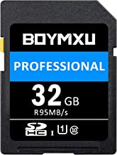 32GB SD Card, BOYMXU Professional 1000 x Class 10 SDHC UHS-I U3 Sd Card Compatible Computer Cameras and Camcorders, SD Memory Card Up to 95MB/s, Blue/Black