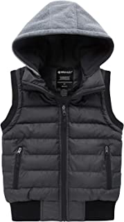 Wantdo Boy's Winter Hooded Puffer Fleece Vest Warm Sleeveless Thick Jacket