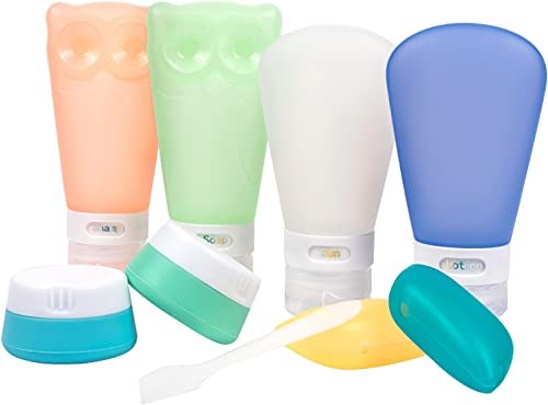 Portable Silicone Travel Bottles Set Leak Proof Toiletry Containers BPA Free TSA Approved 8 Pack by Toprema