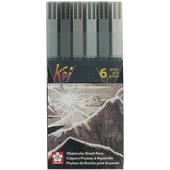 Sakura XBR-6SA 6-Piece Koi Coloring Brush Pen Set, Gray