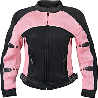 Xelement CF508 Women's Black and Pink Mesh Jacket with Advanced Level-3 Armor - Small