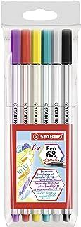 Pennarello Premium con punta a pennello per linee spesse e sottili - STABILO Pen 68 brush - Astuccio da 6 - con 6 colori a...