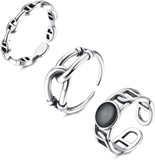 HAIAISO 3PCs Gothic Rings for Women, Vintage Ring Set Cross Rings Chain Rings for Women Silver Midi Ring Joint Jewelry Adj...