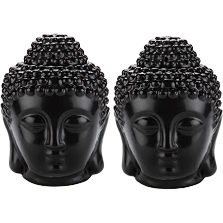 Essential Oil Mudra Crafts Oil Burner Fragrance Melt Candle Warmer Black Buddha Statue Decor for Scented Wax