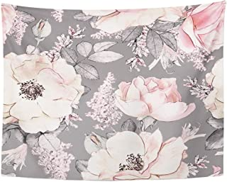 TOMPOP Tapestry Pink Flowers and Leaves on Gray Watercolor Floral Pattern Rose in Pastel Color Tileable Home Decor Wall Hanging for Living Room Bedroom Dorm 60x80 Inches