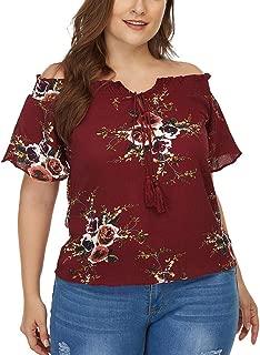 DADKA Fashion Womens Shirts Sexy Slash Neck Off Shoulder Floral Print Blouse Tops