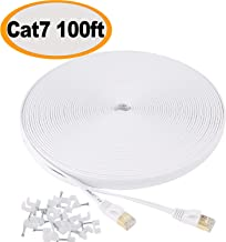 Jadaol Cat 7 Ethernet Cable 100 ft Shielded, Solid Flat Internet Network Computer patch..