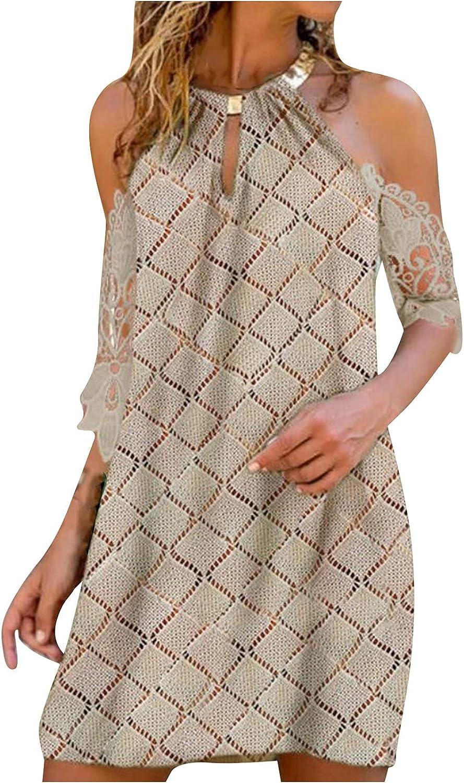 Women's Mini Dress Summer Backless Halter Casual Printing Half Sleeve Dress Holiday Beach Dresses