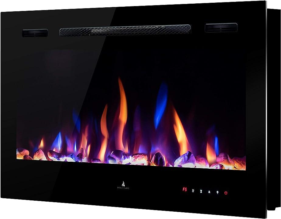 Camino elettrico noble flame paris 920 montaggio parete telecomando - 14,5 cm profondità BG-36B_black