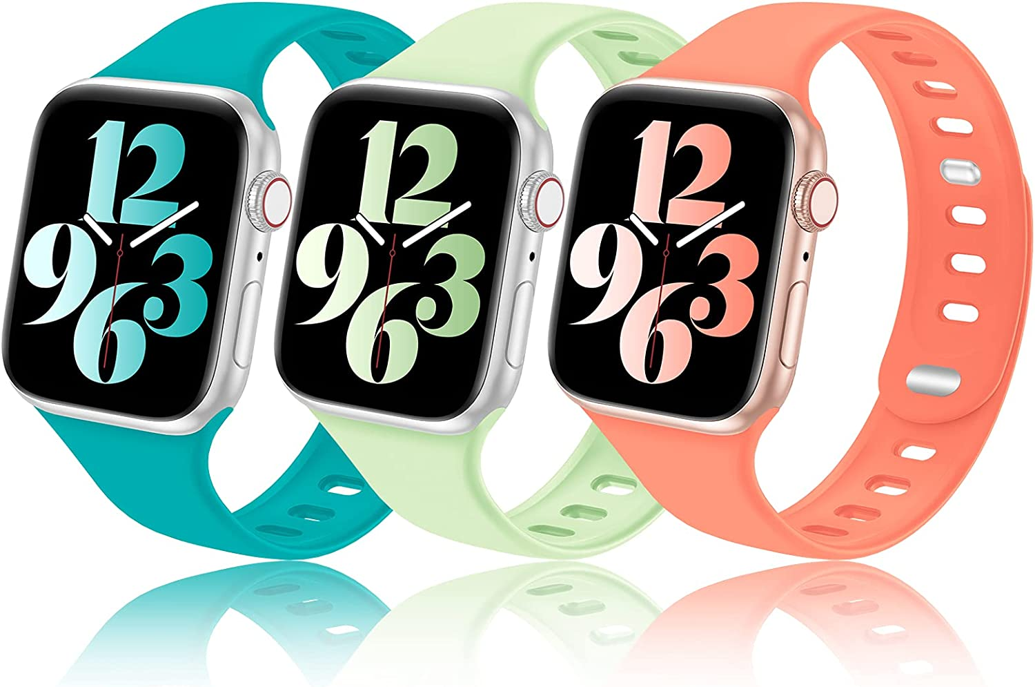 Seizehe Compatible with Apple Watch Bands 38mm 40mm 42mm 44mm for Women Men, Breathable Silicone Sport iWatch Bands 38mm 40mm 42mm 44mm Womens Double Clasp for iWatch SE Series 6/5/4/3/2/1