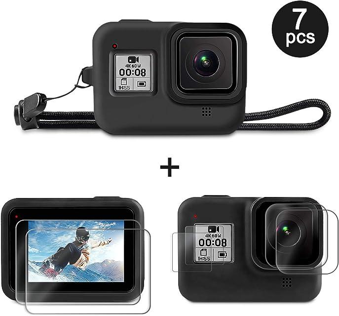 Deyard de Accesorios para GoPro Hero 8 con Funda Protectora de Goma de Silicona + 4pcs Protector de Pantalla de Vidrio Templado Transparente + 2pcs Película Protectora HD para GoPro Hero 8 Black