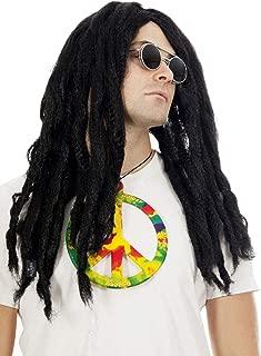 Dreadlock Wig Rasta Jamaican Costume 80s 90s Dreadlocks Wigs Hippie. Fits Women Men & Kids Black