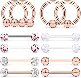 12Pcs-14Pcs Tongue Ring Nipple Ring 14G Stainless Steel Nipple Nipplerings Barbell Bar Hoop Rings Piercing Jewelry 14MM