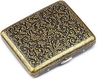 roygra Cigarette Case 85mm King Size (18-20 Capacity) Sturdy Cigarette Holder Metal Retro (Grass)