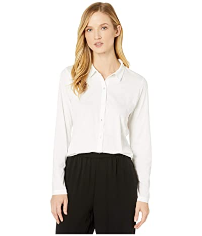 Eileen Fisher Organic Cotton Easy Jersey Classic Collar Shirt (White) Women