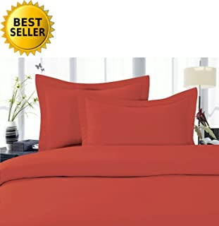 Elegant Comfort 5-Piece 1500 Thread Count Egyptian Quality Hypoallergenic Ultra Soft Wrinkle, Fade, Stain Resistant Bed Sheet Sets with Deep Pockets, Split King, Rust