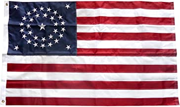 Moon 3x5 Embroidered USA American 34 Stars Union Nylon Flag Star Civil War Premium Vivid Color and UV Fade Best Garden Outdor Decor Resistant Canvas Header and Polyester Material Flag