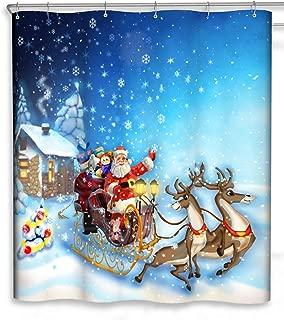 CHUN YI Merry Christmas Bathroom Decoration Polyester Fabric Shower Curtains Liner 72x72 (Christmas Snow)