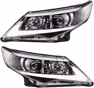 JDMSPEED New Headlight USA LED Halo Projector Headlights Pair For 2012 2013 2014 Toyota Camry