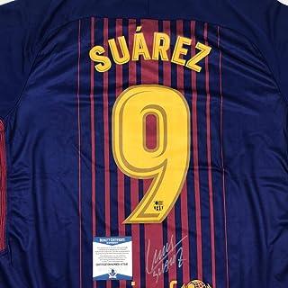 fe21baa75 Autographed Signed Luis Suarez FC Barcelona Red Blue Soccer Futbol Jersey  Beckett BAS COA