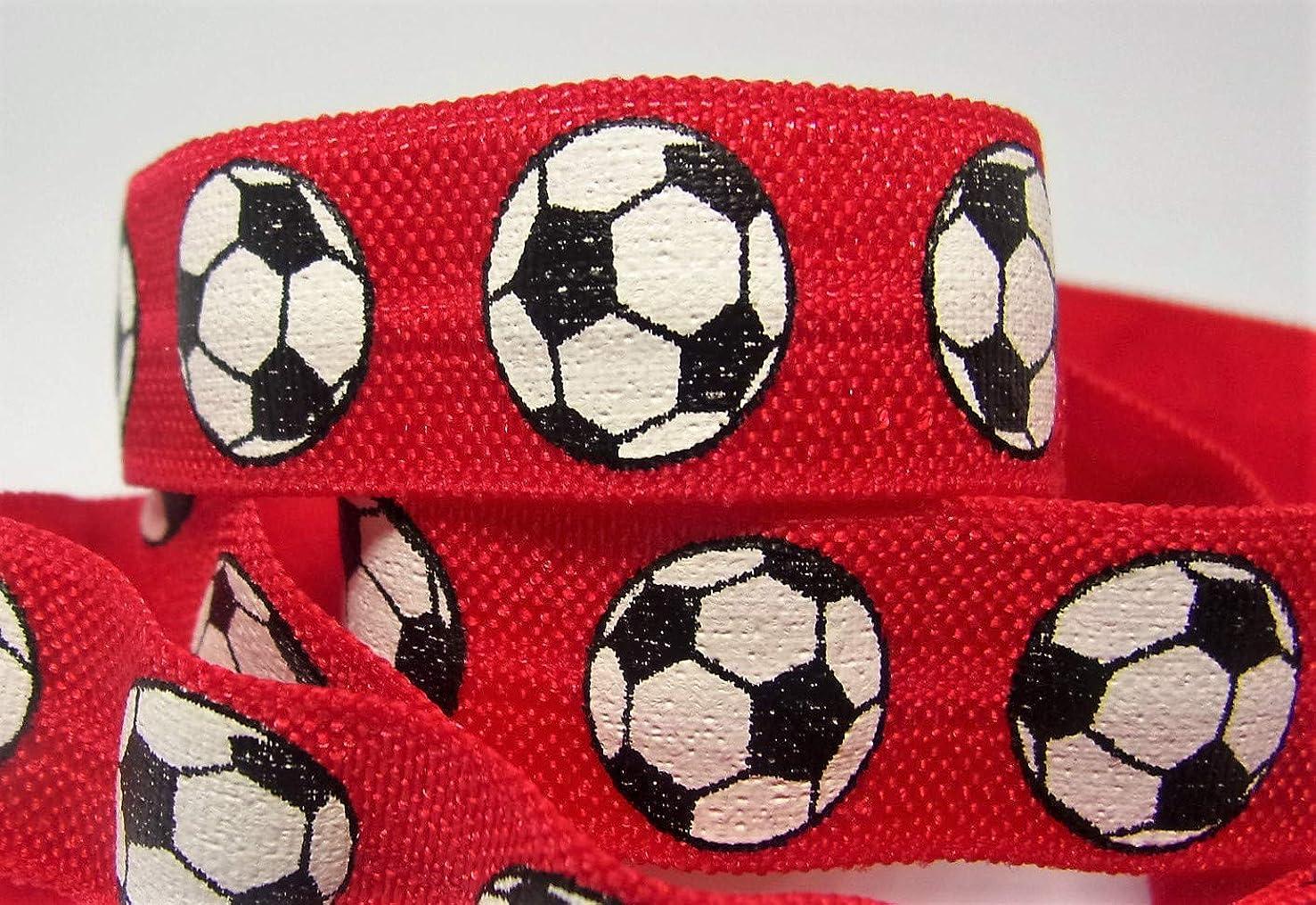 Fold Over Elastic - Red Soccer Print FOE - 5/8