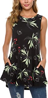 Women's Floral Sleeveless Flare Tunic Top with Pockets