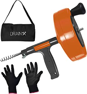 Drainx Power Pro 25-FT Steel Drum Auger Plumbing Snake with Drill Adapter | Heavy Duty Drain Snake Cable with Work Gloves and Storage Bag- Orange.