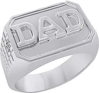 مجوهرات تريليون 0.03CT الماس الطبيعي 14K الذهب الأبيض إنهاء خاتم أبي للرجال