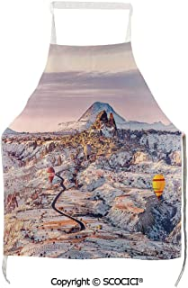 SCOCICI Cappadocia Turkey Landscape with Hot Air Balloons Anatolia Valley Geology Tourism Unisex Kitchen Chef Apron with Pockets for Cooking Baking Crafting Gardening and BBQ