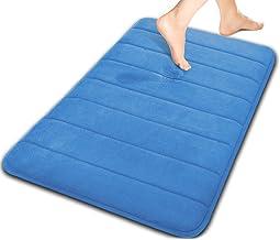 (1, Blue) - Yimobra Luxurious Memory Foam Bathroom Mat Large 80cm X 50cm, Absorbency,Soft,Microfiber,Non Slip,Bath Rugs Bl...