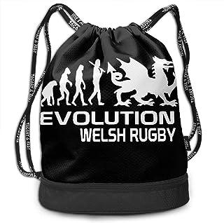 ウェールズの進化ラグビー バックパック かわいい手提げ 巾着袋 おしゃれバッグ リュック 軽量 ソフトクッションポーチ バッグアクセサリー アウトドア 旅行 登山 遠足 カジュアル プレゼント