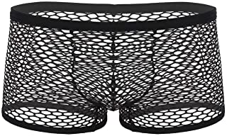 Aiihoo Men's See Through Fishnet Boxer Briefs Hot Lingerie Booty Shorts Low Rise Underwear