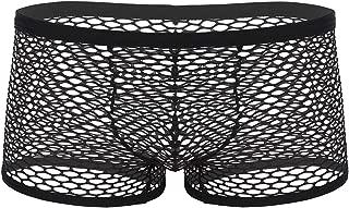 Men's Sheer Mesh Fishnet Low Rise Boxer Briefs See Through Trunks Underwear