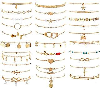 ست دستبند 30 مچ پا زنانه ، ست قابل تنظیم اندازه مچ پا ، مچ بند ساحلی زنجیره ای طلایی ، مچ بند جواهرات برای هدایای جواهرات ساحلی زنان