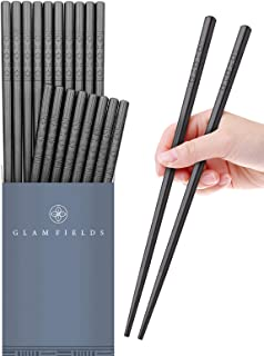 GLAMFIELDS 10 Pairs Fiberglass Chopsticks, Reusable Japanese Chinese Chop Sticks Dishwasher Safe, Non-Slip, 9 1/2 inches
