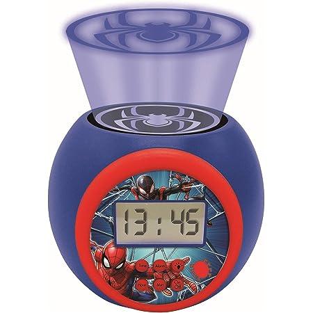 Lexibook- Réveil projecteur Spiderman Marvel avec Fonction Alarme et répétition Snooze, veilleuse avec minuterie, écran LCD, à Piles, Bleu/Rouge, RL977SP
